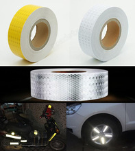 Security Protection - Roadway Safety - 5cm X 25m Yellow/White Reflective Warning Tape With Color Printing For Car
