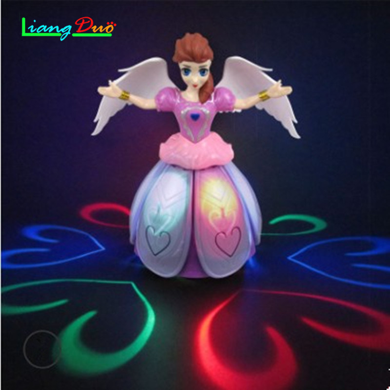 360 Degree Rotary Electric Universal Dancing Princess Light Music Angel Childrens Toys Give Children The Best Gift Doll