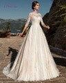 Loverxu Romântico Três Quartos A Linha Lace Vestidos de Casamento 2016 Apliques Vintage Boêmio vestido de Noiva Robe De Casamento Plus Size