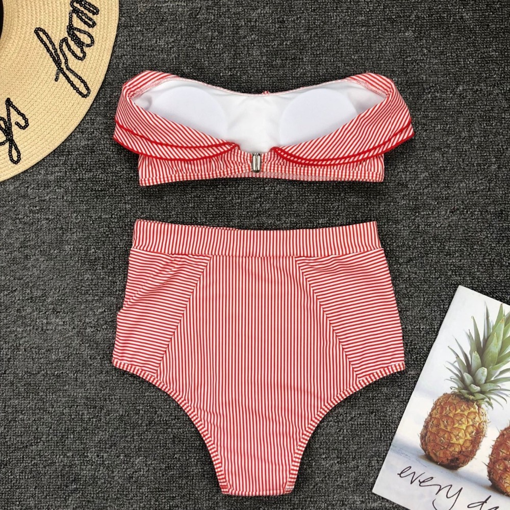 HTB1pCf5e8iE3KVjSZFMq6zQhVXaI Sexy Retro Blue White Striped Bandeau High Waist Bikini 2019 Lady Swimwear Women Swimsuit Female Ruffle Ruched Swim Bathing Suit