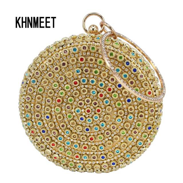 Golden Fashion Character Designer Round Circular Wallet Ladies Wedding  Clutch Bag Female soiree Purse Women Party Evening Bag cc69ea6bc05f