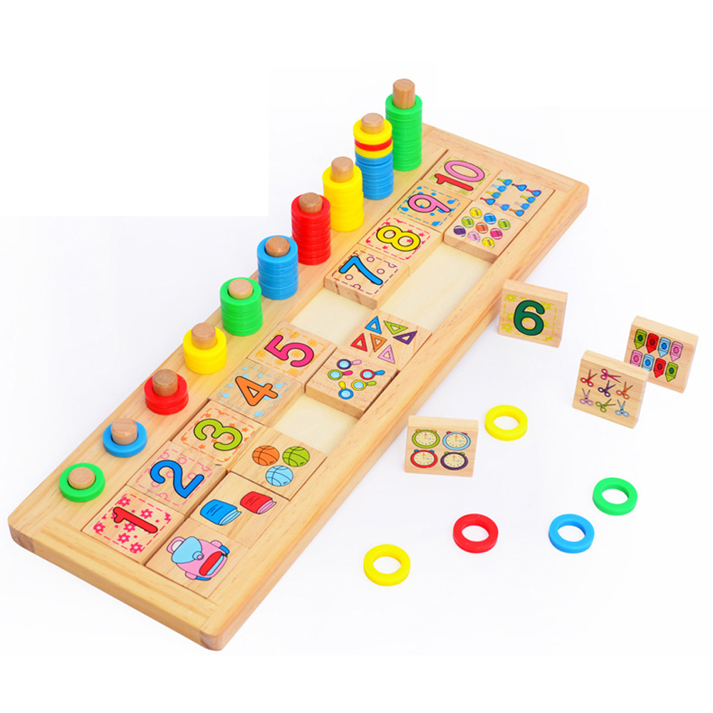 Montessori Rainbow Rings Dominos Children Preschool Teaching Aids Counting and Stacking Board Wooden Arithmetic Math Toy