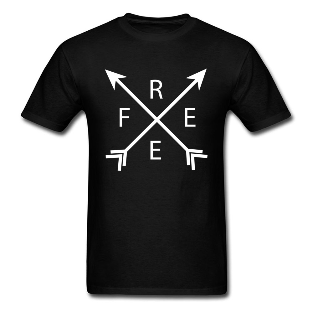Letter Free Arrows 2018 New Simple Style Men Black T-shirt C