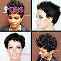 Новое поступление виргинский бразильский guleless полный человеческих волос парики короткие фронта афро кудрявый курчавый парик для чернокожих женщин