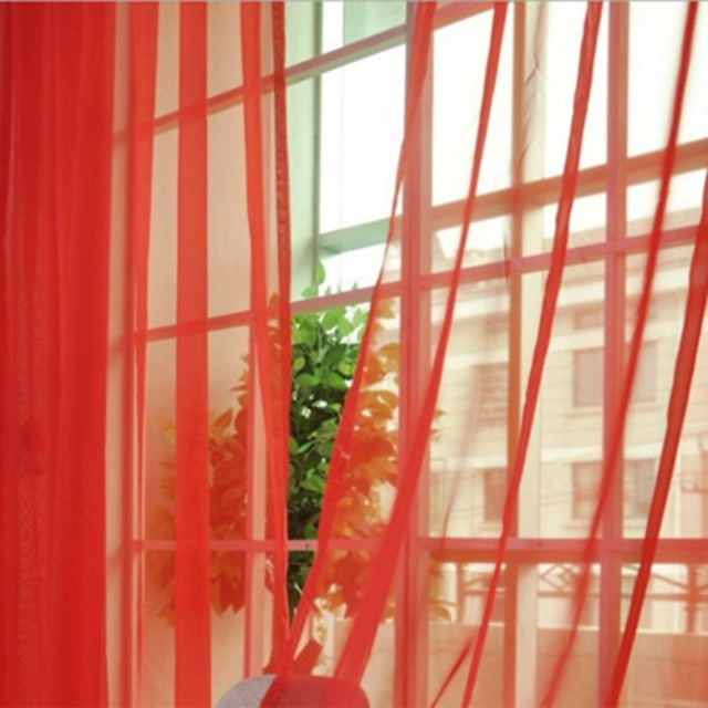 OUTAD Simple Solid Color Tulle Door Window Curtain Washable