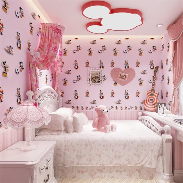 3D Wallpaper mickey mouse Lucu kartun Wallpaper Gulungan untuk kamar anak anak Dinding meliputi Dekorasi
