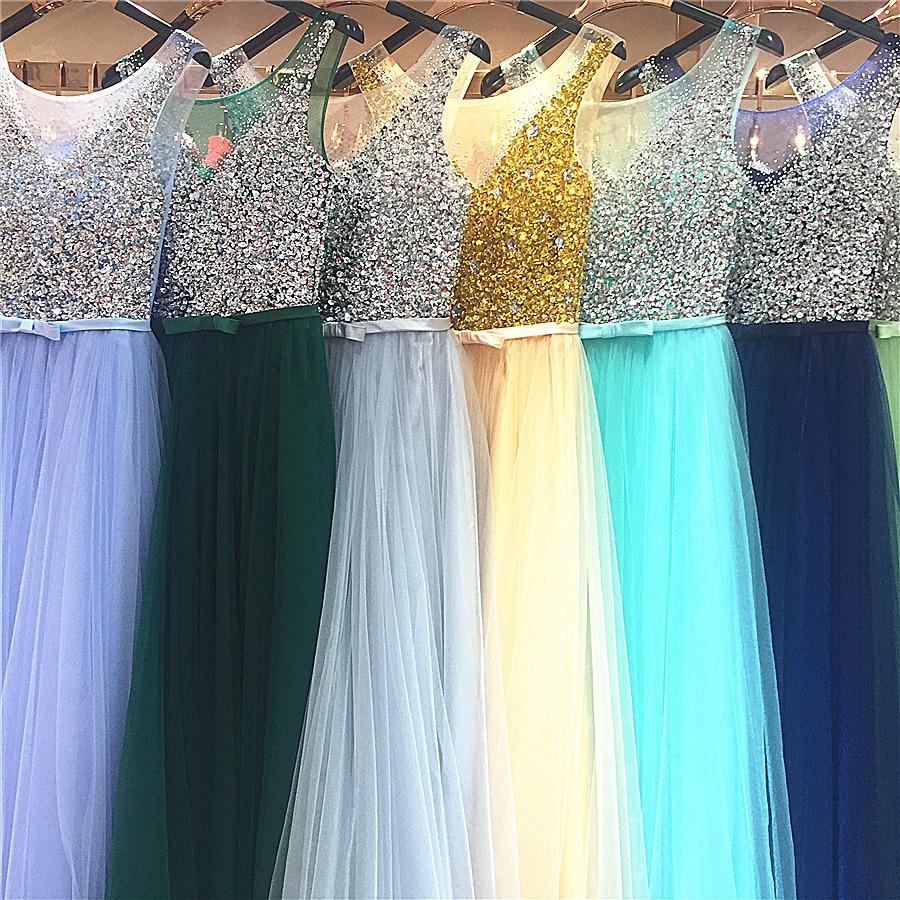 2017 nieuwe nieuwe aankomst echte foto prom feestjurken lange jurk - Bruiloft feestjurken - Foto 6