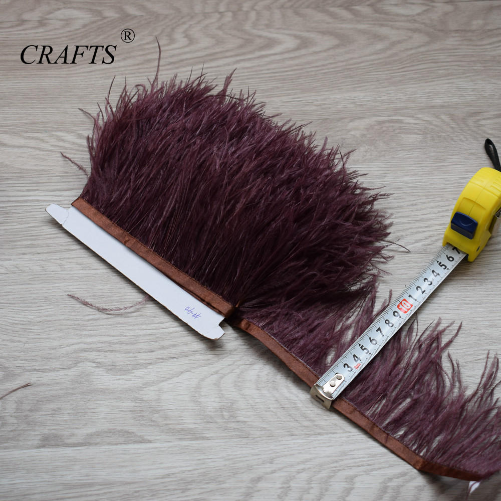 fluffy ostrich feather trimming cloth sideband 98cm long 8-11cm