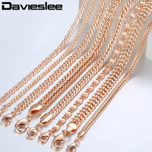 d5ad15f9943e 20 cm cadenas pulseras para mujer 585 Rosa oro relleno Mujer pulsera cadena  Dropshipping al por mayor joyería de moda 3-8mm LCBB.