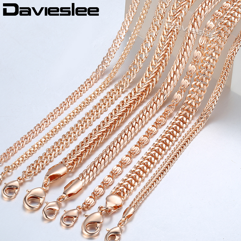 20cm Chains Bracelets for Women 585 Rose Gold Filled Womens Bracelet Chain Dropshipping Wholesale Fashion Jewelry 3-8mm LCBB1