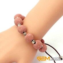 "14mm Self Made Lava Stone Bracelets Bangles For Women and Men Natural Stone ajustable size: 7""-8.5"" Bracelets free shipping"