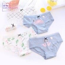 New Cute Summer Women Girls Underwear Freshness Flamingo Printed Cotton Panties Mid-Rise Briefs C087