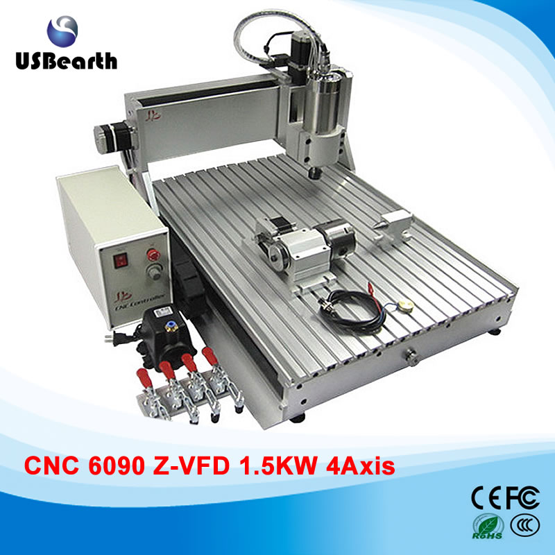 Mini CNC 6090 Router 1.5 KW Spindle 4 Axis Engraving Milling Machine 110V 220V mini cnc router rtm 6090 with t slot vacuum table