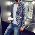2017 a Primavera Eo Verão de Moda Masculina Camuflagem Terno dos homens Camou Blazer Terno Cinza Camo Casacos Blazer