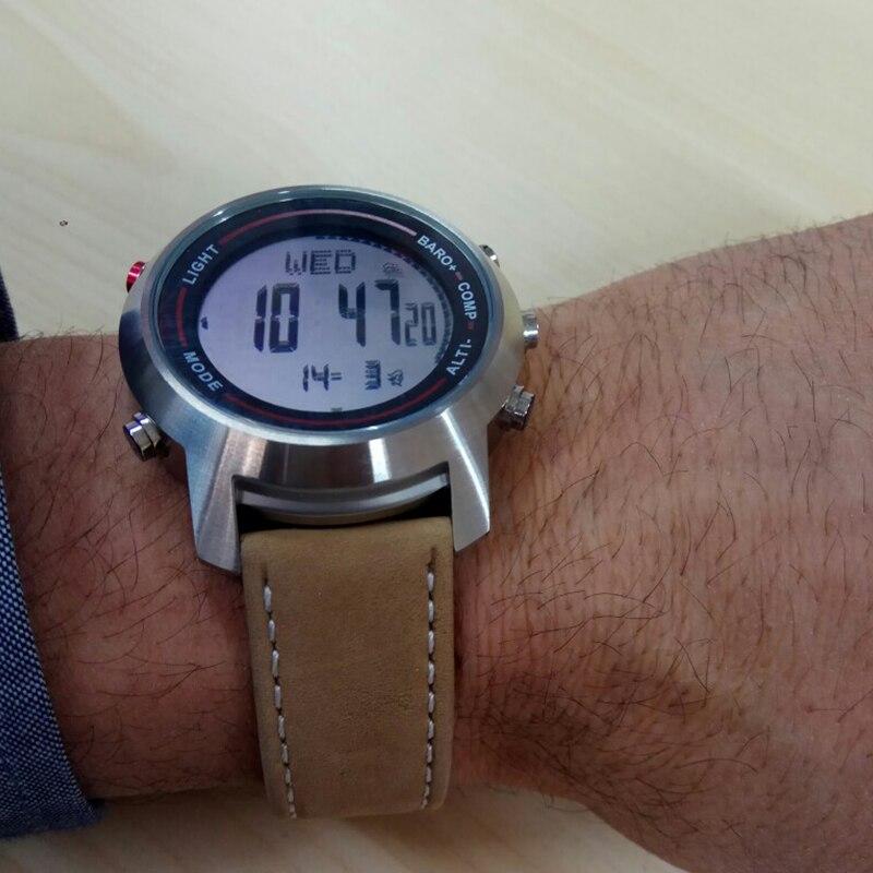ชายทหารกีฬานาฬิกาสภาพอากาศเข็มทิศสายหนังแท้กันน้ำนาฬิกาดิจิตอลนาฬิกาข้อมือ Relogio Masculino-ใน นาฬิกาข้อมือดิจิตอล จาก นาฬิกาข้อมือ บน   2