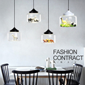 Modern led pendant lights glass Built-in a variety of small animals panda tiger led pendant lamp hanging light bedroom kids room