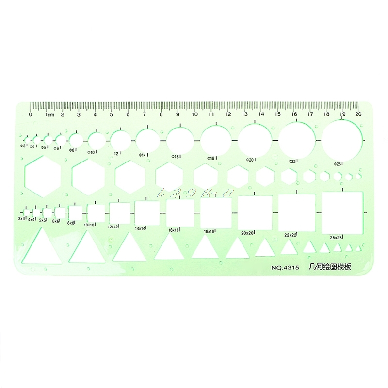 Plastic Ruler Geometric Plastic Circles Squares Hexagons Triangle Template Ruler Drawing