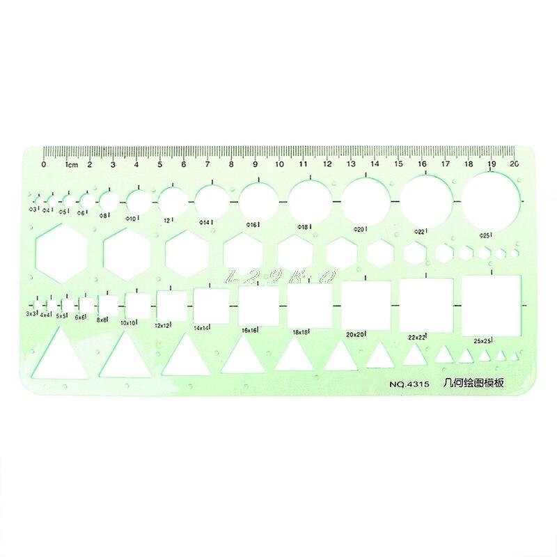 Plastic Ruler Geometric Plastic Circles Squares Hexagons Triangle Template Ruler Drawing