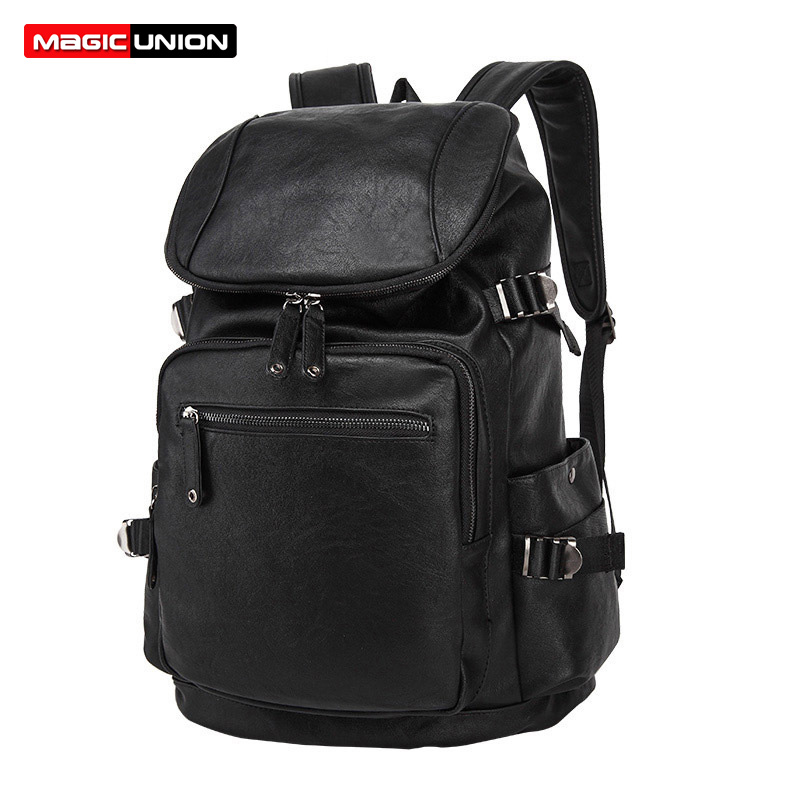 MAGIC UNION New Leather Backpack Men s Casual Travel Bags Oil Wax Leather  Laptop Bags College Style da6e1669cf8fd