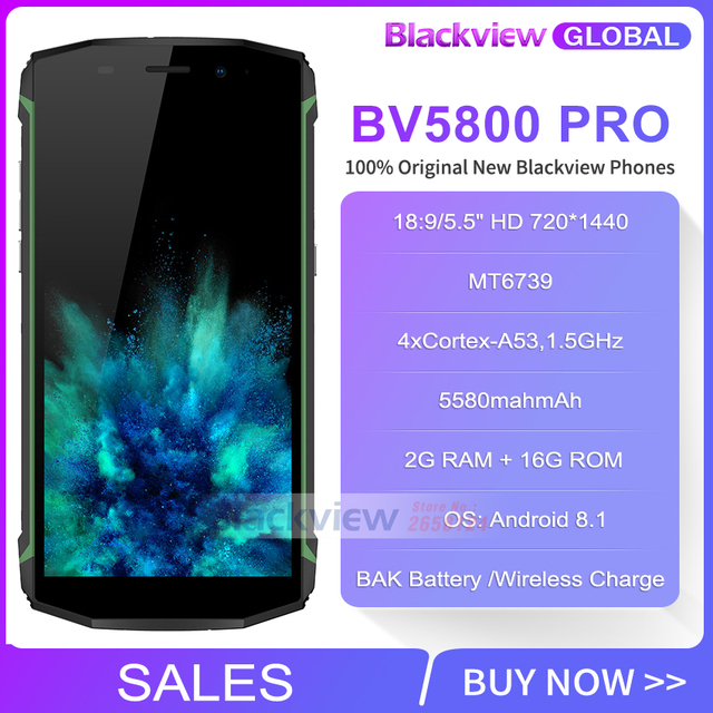 PROMOTION Blackview BV5800 pro IP68 waterproof Wireless Charge 5580 mAh 4G 18:9 2GB 16GB Smartphone MT6739 13MP NFC Touch ID
