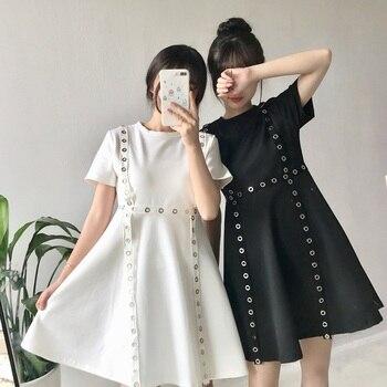Nuevo verano 2018 moda coreana Academy Wind students girls Vestido de manga corta blanco negro vestido gótico Vintage Simple e informal