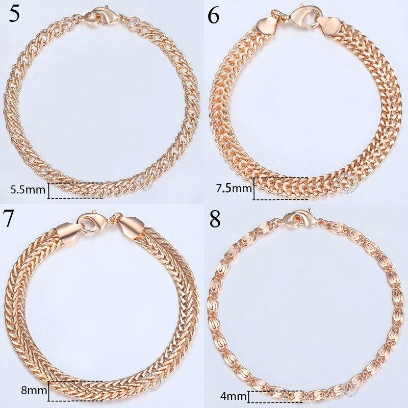 20cm 585 Rose Gold filled Bracelet For Women Men Curb Snail Foxtail Venitian Link Chains Womens Mens Bracelets Fashion Gift CBB1