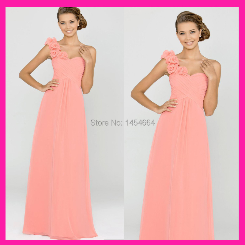 Water Melon One Shoulder Empire Wedding Guest 2015 Long Maternity ...