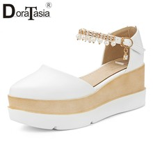 DORATASIA New Elegant White Platform Sandals Women 2019 Summer Large Size 33-43 Comfort Casual Women High Wedges Shoes Woman(China)