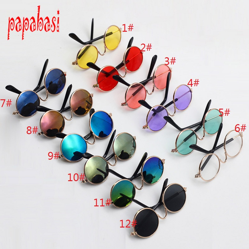NEW 8cm Doll Glasses Round Glasses Flash Colorful Glasses Sunglasses for Blyth or 18 inch doll