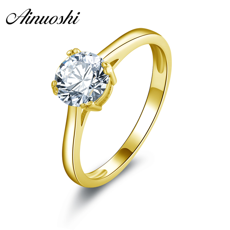 AINUOSHI 10k Solid Yellow Gold Wedding Ring 1 Carat 4 Claws Simulated Diamond Engagement Jewlery Women Wdding Ring CustomizedAINUOSHI 10k Solid Yellow Gold Wedding Ring 1 Carat 4 Claws Simulated Diamond Engagement Jewlery Women Wdding Ring Customized