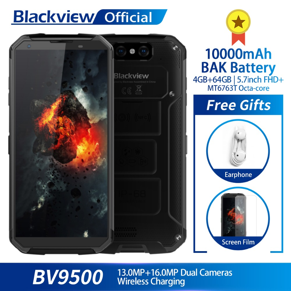 "Blackview BV9500 4GB+64GB 5.7"" FHD 18:9 MT6763 Octa Core Waterproof Smartphone 16.0MP Camera 10000mAh Battery Wireless Charging-in Cellphones from Cellphones & Telecommunications    1"