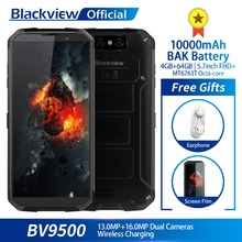 Blackview BV9500 4 ГБ + 64 ГБ 5,7 «FHD 18:9 MT6763T Восьмиядерный Водонепроницаемый смартфон 16.0MP Камера 10000 мАч батарея Беспроводной зарядки