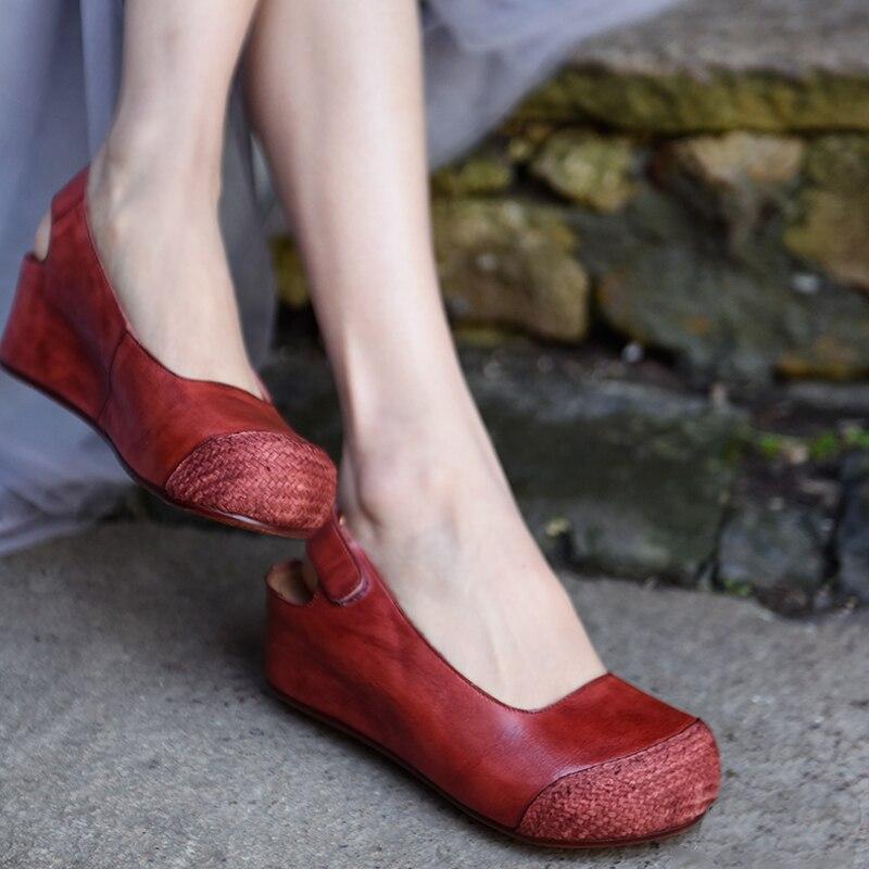 Artmu Original Thick Heels Wedges Women Sandals 5 5 cm Heel Closed Toe Shoes Genuine Leather