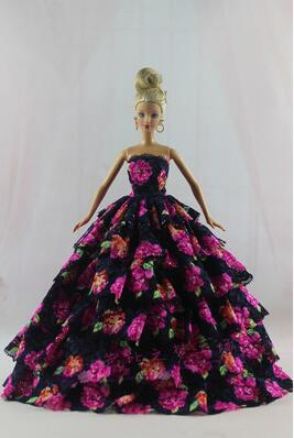 Dress up a variety of case for Barbie doll clothes dress multi-level wedding dress essential