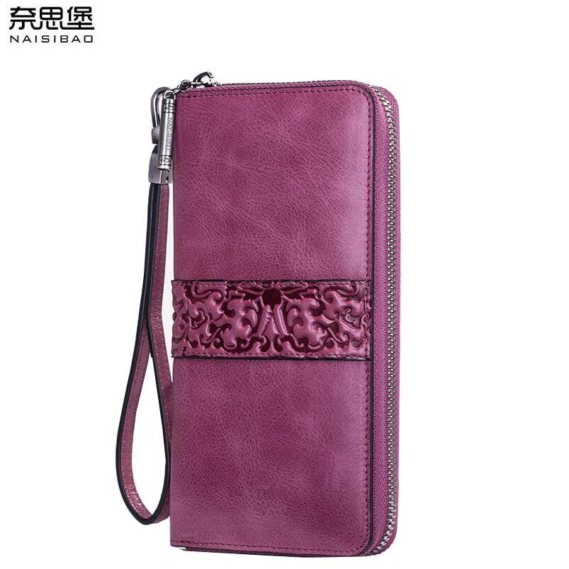 цена на 2018 New women genuine leather wallets designer brands top fashion embossing zipper long womens wallets leather clutch bags