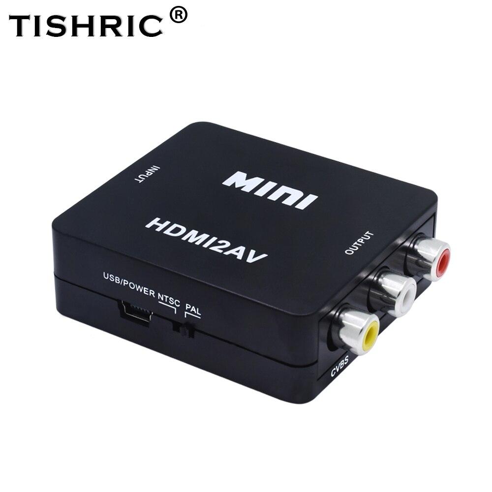 TISHRIC Mini HDMI2AV NTSC PAL HDMI RCA AV CVBS CVSB Maschio Audio Video Composito Converter Box Componente Cavo Usb Scaler adattatore