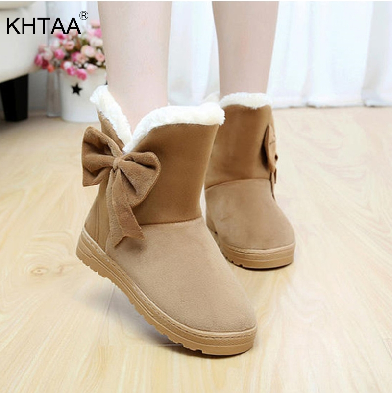KHTAA Snow Boots Winter Female Ankle Boots Warmer Plush Bowtie Fur Suede Rubber Flat Slip On