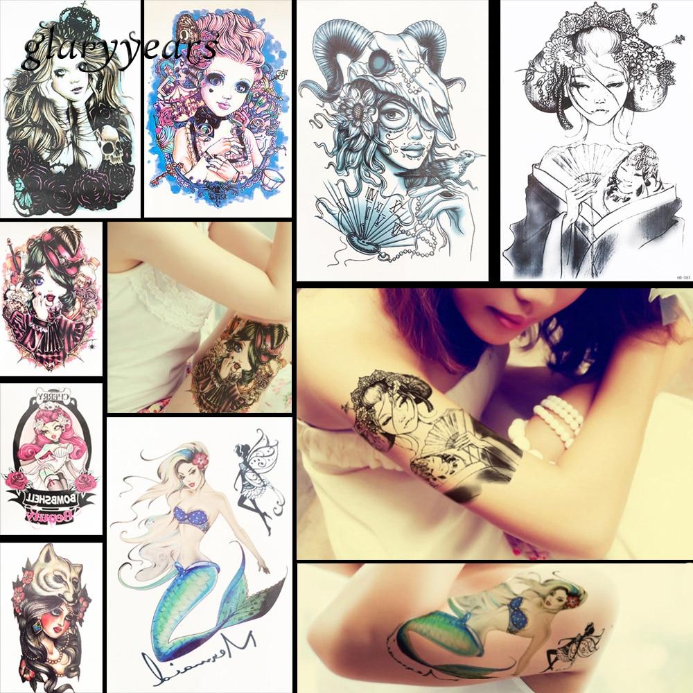 8 Pieces Maiden Pattern Design Tattoo Sticker Belle Geisha Decal Temporary Beauty Women Body Art Waterproof Tattoo Sticker HB#51