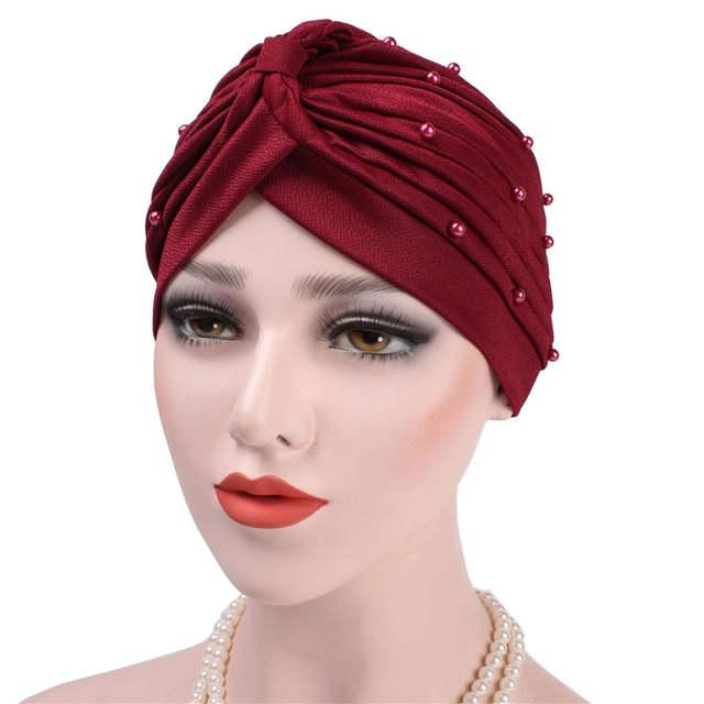 4b9c9e41c85 2018 Women New Luxury Turban Hat Beaded Fold Simple Hijab Hat Headband  Ladies Fashion Headwear Female