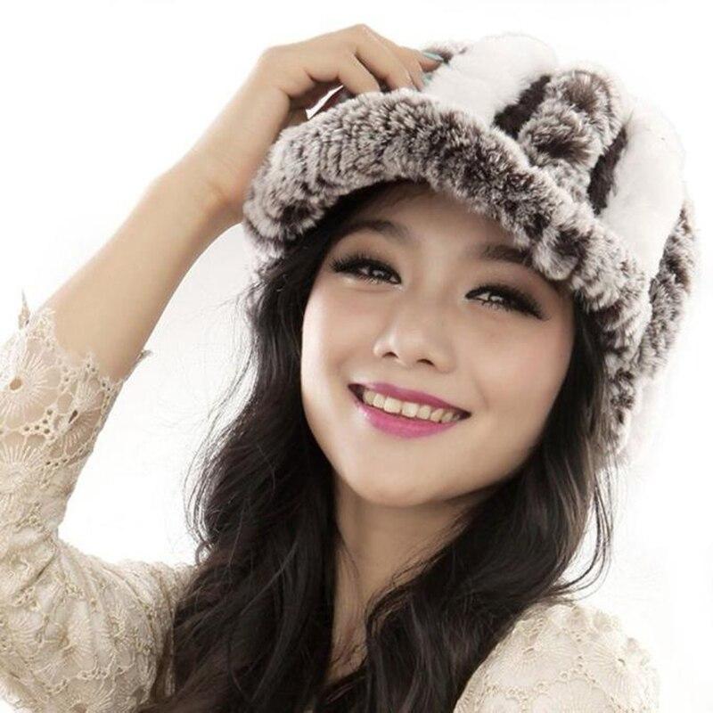 Winter Fashion Female Rex Rabbit Fur Knitted Hat Women Handmade Warm Caps font b Beanies b