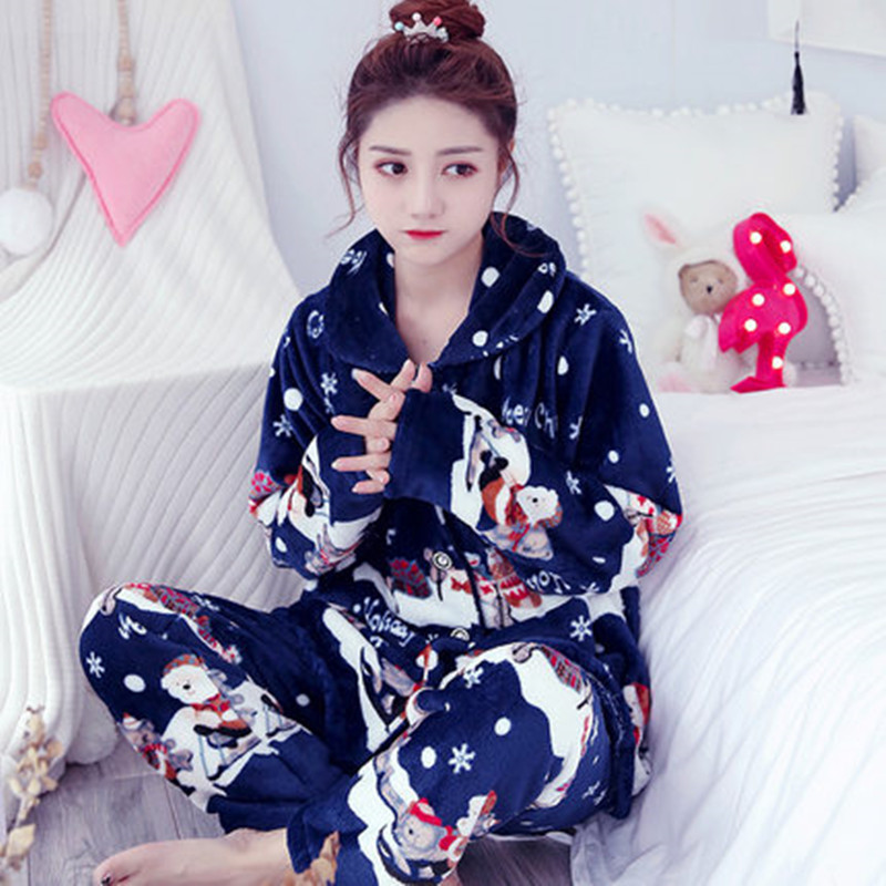 Winter Christmas Family   Pajamas   Female Flower Print Thick Flannel Warm   Pajama     Set   Long Sleeve Full Trousers Two Piece