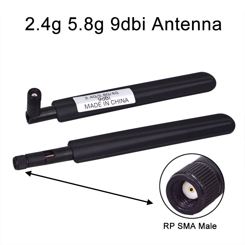 2 Piece/lot Dual-Band Wifi Antenna 2.4g 5.8g 9dbi Aerial RP SMA Male Connector Antenna Free Shipping