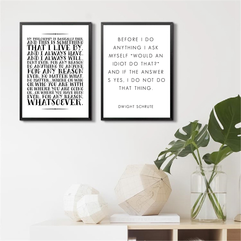 The Office Tv Series Print Poster Room Decor , Michael Scott And Dwight Schrute The Office Quotes Wall Art Canvas Painting image