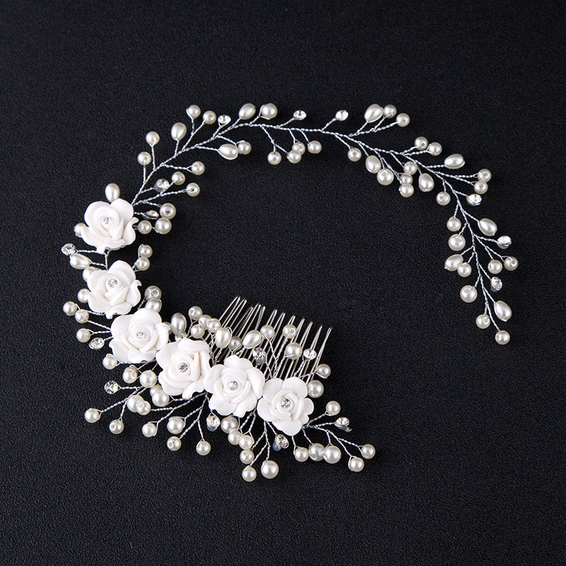Hair Accessories For Women Pearl Flower Hairband Wedding Bride Tiaras Crown Length Headband Noiva Hair pinHair Jewelry Hair Comb