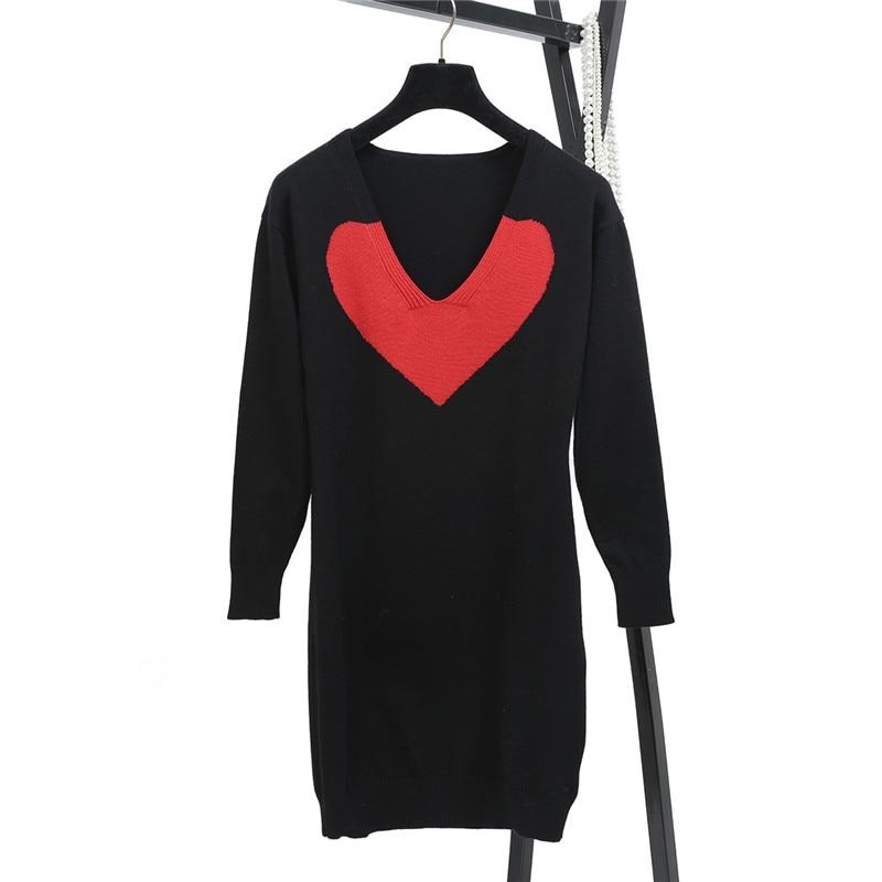SRUILEE Red Heart-shaped Jacquard Jumper Autumn Winter New Brand Design Vestido Women Dress Pullover Knit Dress Runway S1019
