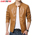LONMMY M-6XL Locomotive Leather jacket men coat Suede Men Clothes Slim mens leather jackets coats spring Micro Stretch New 2016