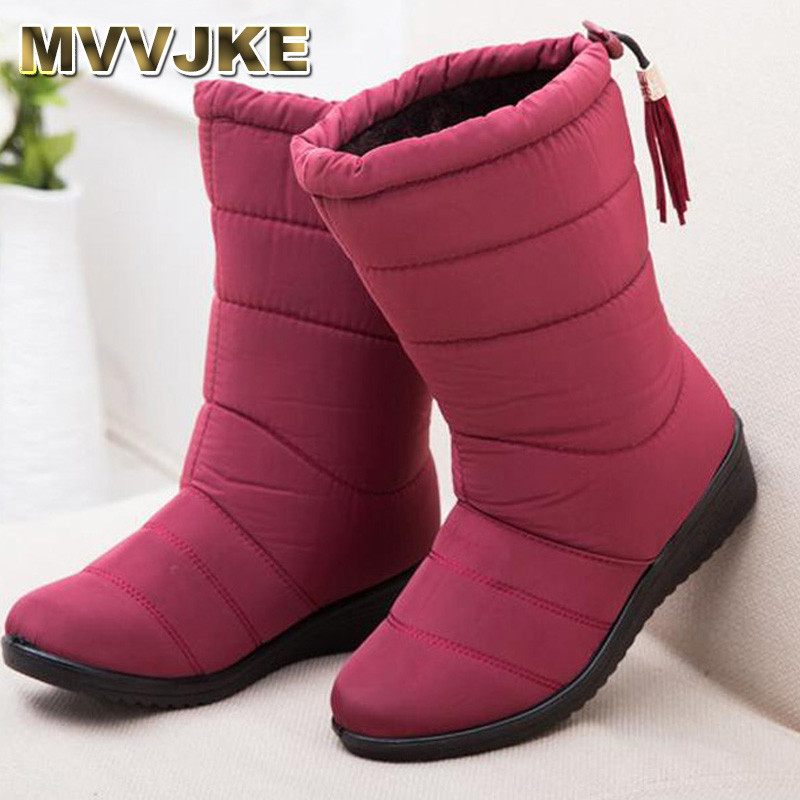 MVVJKE Women Boots black red Mid-Calf Riding Boots Russia Winter Waterproof Keep Warm Snow Boots Down Shoes morazora russia women boots big size 35 44 keep warm snow boots platform winter mid calf boots fashion shoes solid white color