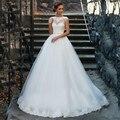 Элегантный Тюль Бальное платье Лодка Шеи Свадебное Платье vestidos де novia 2016 свадебные платья платье de noiva princesa