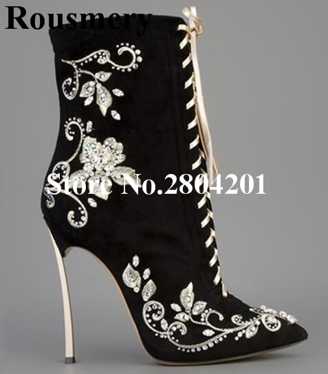 Rousmery Women Fashion Short Boots Pointed Toe High Heels Black Embroidery Flowers Crystal Lace-up Zipper Detail Ankle Boots