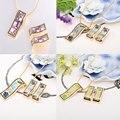 Estilo europeo colorido promocional 4 colores esmalte de la joyería, collar y pendientes, 1 set/pack